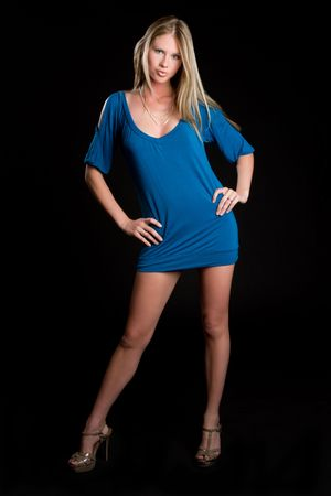 Blue Dress Woman Reklamní fotografie