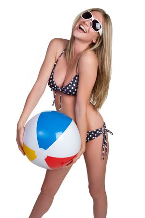 young girl bath: Isolated Beach Ball Girl