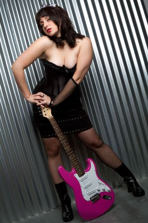 Girl With Electric Guitar photo