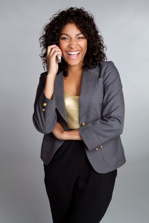 american curl: Laughing Businesswoman on Phone