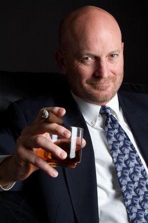 bald man: Cigar Man Drinking LANG_EVOIMAGES