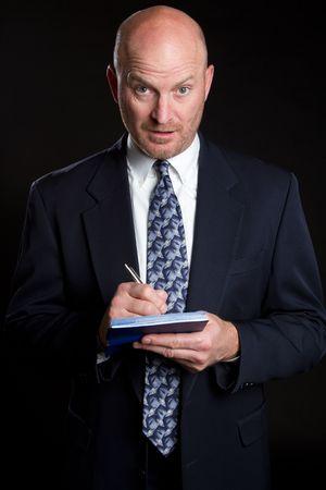 Businessman Writing Check Stock Photo - 6875117