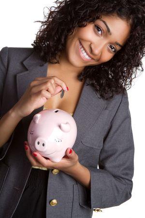 american curl: Black woman holding piggy bank