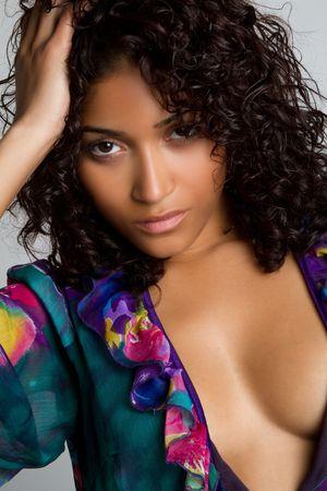 Hermosa mujer Sexy Black Foto de archivo - 6990990