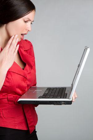 Shocked Laptop Woman Stock Photo - 6990991
