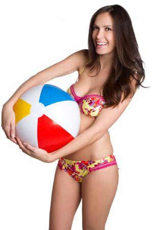 beachball: Isolated beach ball bikini woman
