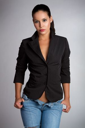 unbuttoned: Sexy latina woman wearing jeans LANG_EVOIMAGES