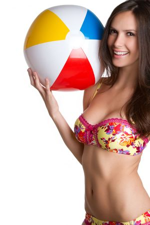 beach wear: Beautiful bikini girl holding beach ball