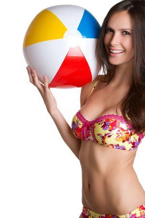 bikini wear: Beautiful bikini girl holding beach ball