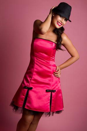 Beautiful woman wearing pink dress Stock Photo - 7018393