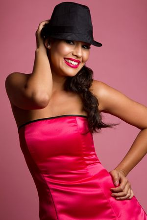 fedora hat: Beautiful smiling fun latina woman LANG_EVOIMAGES