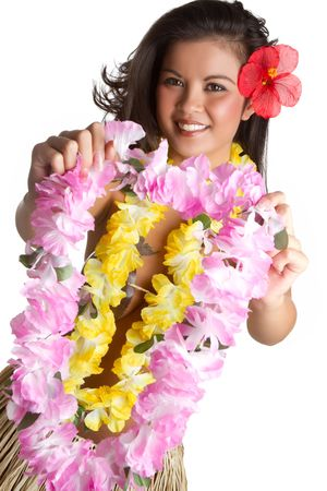 Woman holding tropical flower lei Stockfoto
