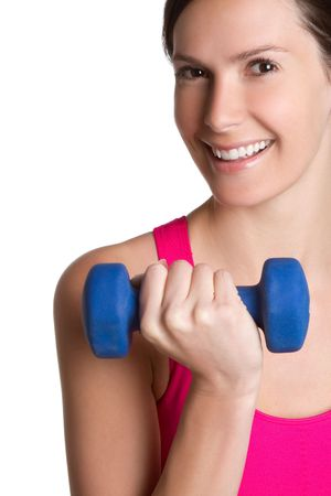 Pretty smiling woman exercising photo
