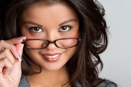 filipino ethnicity: Beautiful polynesian woman wearing glasses