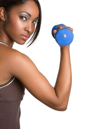 Black fitness woman lifting weights