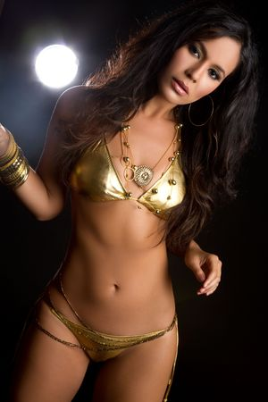 Gold bikini swimsuit Stock Photo - 7115351