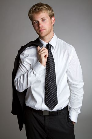 Handsome young businessman wearing suit Stock Photo