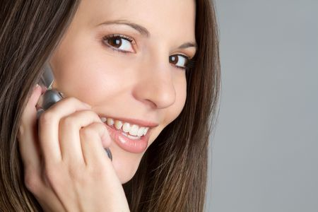 Beautiful smiling telephone girl Stock Photo - 7115378