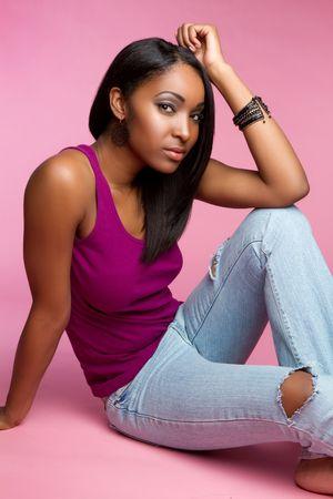 african american sexy: Black girl sitting