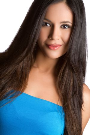 Pretty latin woman portrait closeup 写真素材