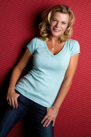 middle age woman: Beautiful middle aged blond woman smiling