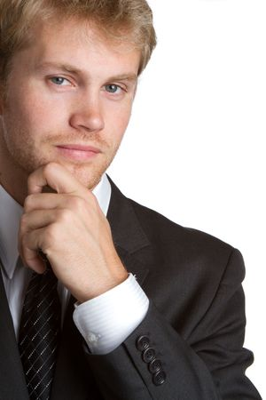 Handsome young businessman thinking Stock Photo - 7232762