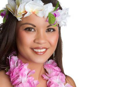 아름 다운 미소 하와이 열 대 여성