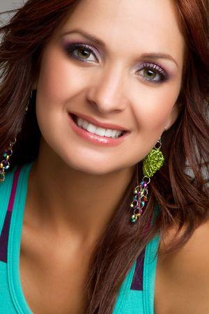 Smiling headshot woman Stock fotó