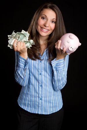 Piggy bank woman saving money Standard-Bild