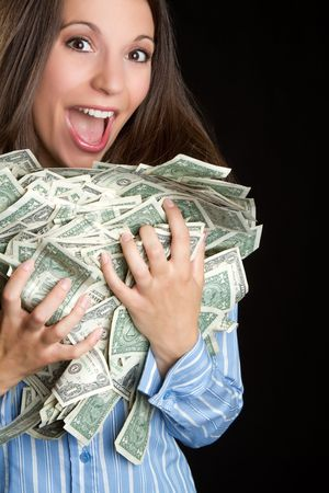 Excited woman holding money Archivio Fotografico