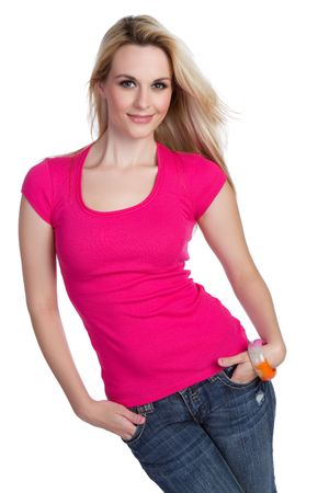 pink posing: Pretty smiling isolated blond woman