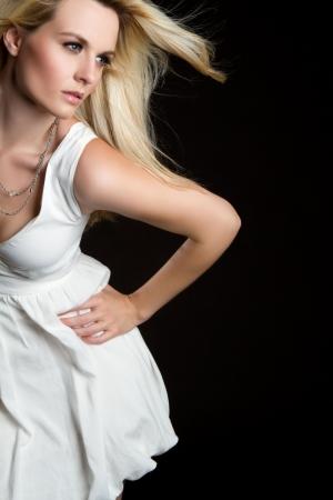 Moda de rubia joven hermosa mujer  Foto de archivo - 7525786