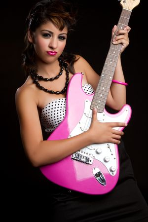 sassy: Rock star girl playing guitar