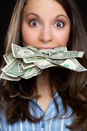 greed: Woman eating money