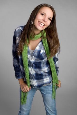 Beautiful teenage winter girl smiling Stock Photo - 9105737