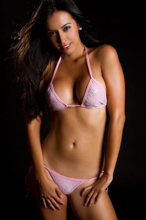 bikini wear: Beautiful smiling latina swimsuit woman
