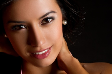 Beautiful young latin woman smiling
