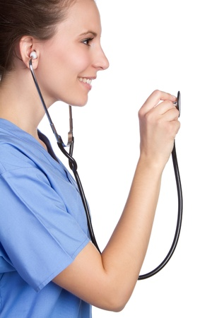 Smiling nurse holding stethoscope