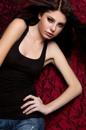 Beautiful teen fashion girl posing Stock Photo - 9256687