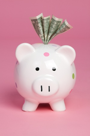 Piggy bank saving cash money Stock Photo - 9397191