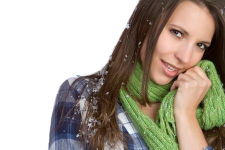 Beautiful winter snow scarf woman Stock Photo - 9397183