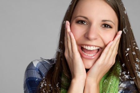 Beautiful smiling cold winter girl Stock Photo - 9397184