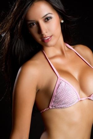 Pretty young latin swimsuit woman Stock Photo - 9397209