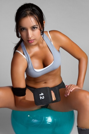 Healthy latin exercising fitness woman Stock Photo - 9397214