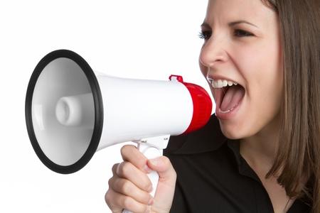 Woman yelling into megaphone bullhorn