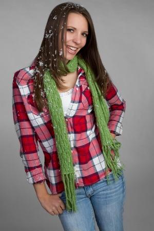 Beautiful smiling winter fashion woman Stock Photo - 9466100