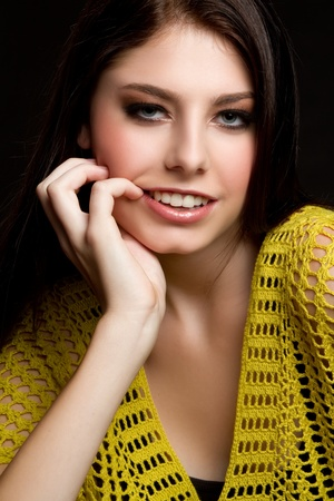 Beautiful young woman smiling portrait photo