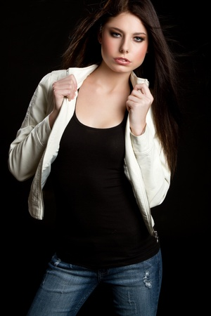 Beautiful teenage fashion girl posing Stock Photo