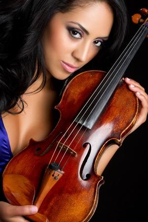 Beautiful young woman holding violin Stok Fotoğraf