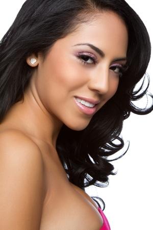 Latin woman beautiful closeup face